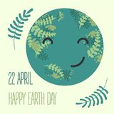 Cartoon Earth Illustration. Planet smile.Earth Day vector illustration