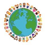 Cartoon earth with kids