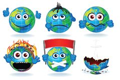 Cartoon Earth Planet Icon Smiling Sad Characters Royalty Free Stock Photos