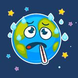 Cartoon earth planet ill with vector thermometer. Cartoon earth planet ill in fever or flu cold with thermometer in mouth. Vector earth in sky clouds and stars Stock Photography
