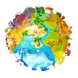 Cartoon Earth Planet Nature Concept. With animals mountain volcano farming arctic desert forest savannah landscapes isolated vector illustration Stock Photography