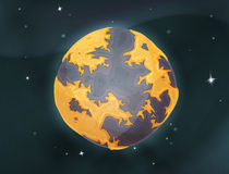 Cartoon Earth Planet On Space Background Royalty Free Stock Image