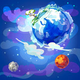 Cartoon Earth Planet In Space Template. With winter nature landscape Mars and moon on blue cosmic background vector illustration royalty free illustration