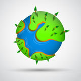 Cartoon earth planet with trees. Vector illustration Royalty Free Stock Photos