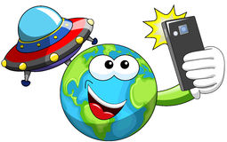 Cartoon Earth selfie alien ufo spaceship Royalty Free Stock Images
