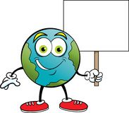 Cartoon earth smiling while holding a sign. Stock Photography