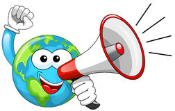 Cartoon Earth Speaking megaphone  Stock Photography