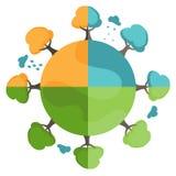 Cartoon earth with trees in four seasons. vector Stock Photos