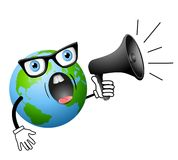 Cartoon Earth Yelling Into Megaphone Stock Images