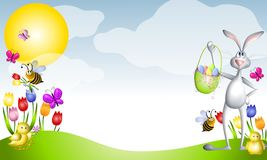 Cartoon Easter Animals Spring Scene. An illustration featuring everything Easter and spring including green grass, blue sky, sun and lots of creatures including