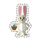 Cartoon easter bunny with basket egg royalty free illustration