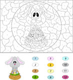 Cartoon easter bunny with basket of eggs. Color by number educational game for kids