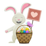 Cartoon Easter Bunny with Basket Illustration Royalty Free Stock Photos