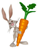 Cartoon Easter  bunny with a big carrot. 3d illustration isolated on the white background Royalty Free Stock Photo