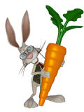 Cartoon Easter  bunny with a big carrot. 3d illustration isolated on the white background Stock Photography