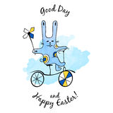 Cartoon Easter Bunny with bike Royalty Free Stock Photo