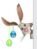 Cartoon Easter  bunny with a blank board Royalty Free Stock Photography