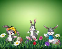 Cartoon Easter Bunny Carrying A Basket Full Of Eggs Stock Photography