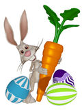 Cartoon Easter bunny with Easter eggs and a carrot stock illustration