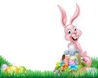 Cartoon Easter Bunny Egg Basket Stock Photos
