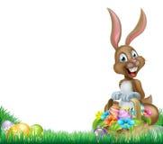 Cartoon Easter Bunny Egg Basket Stock Photo