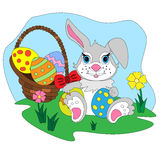 Cartoon Easter bunny with egg basket. Royalty Free Stock Images