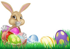 Cartoon Easter Bunny and Eggs Royalty Free Stock Photo