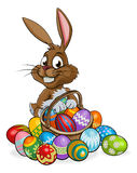 Cartoon Easter Bunny with Eggs Basket Royalty Free Stock Images
