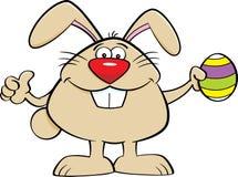 Cartoon Easter Bunny Holding an Easter Egg vector illustration
