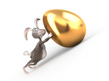 Cartoon Easter bunny holds giant gold egg. Royalty Free Stock Photos