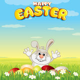 Cartoon Easter Bunny Hunting Eggs Stock Image