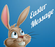 Cartoon Easter Bunny Message Stock Photo