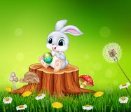 Cartoon Easter Bunny painting an egg on tree stump in summer season background Stock Images