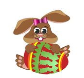 Cartoon Easter Bunny Rabbit Hugging Egg Stock Photography