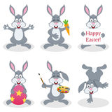 Cartoon Easter Bunny Rabbit Set. Collection of six cartoon Easter bunny rabbit characters in different positions and expressions, isolated on white background vector illustration