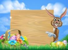 Cartoon Easter Bunny Sign Stock Photos