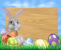 Cartoon Easter Bunny Sign Royalty Free Stock Photos