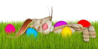Cartoon Easter bunny sleeping in grass Stock Photos