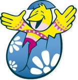 Cartoon easter chicken in egg Royalty Free Stock Photos