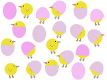 Cartoon easter chicks and eggs. Illustration background Stock Photo