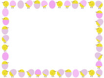 Cartoon easter chicks and eggs. Illustration border Royalty Free Stock Photo