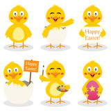 Cartoon Easter Cute Chick Set. Collection of six cartoon Easter chick characters in different positions and expressions, isolated on white background. Eps file stock illustration