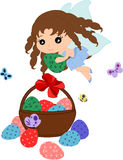 Cartoon Easter eggs in basket and a trixie. Easter collection. Easter eggs in basket and a trixie Stock Image