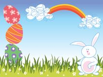 Cartoon easter eggs and bunny royalty free stock image
