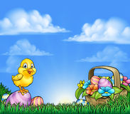 Cartoon Easter Eggs And Chick Background Stock Images