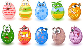 Cartoon easter eggs, happy easter vector Royalty Free Stock Photos