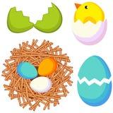 Cartoon easter icon set chicken nest egg shell. Cartoon bright colorful easter icon set chicken nest egg shell. Vector illustration for gift card, flyer Stock Photo
