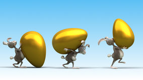 Cartoon Easter rabbit with big gold eggs. Funny illustration Royalty Free Stock Photo