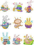 Cartoon easter rabbit and egg icon. Vector drawing Stock Image