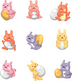 Cartoon easter rabbit and egg icon Stock Photography